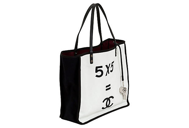 Large Chanel Black & White Canvas Tote