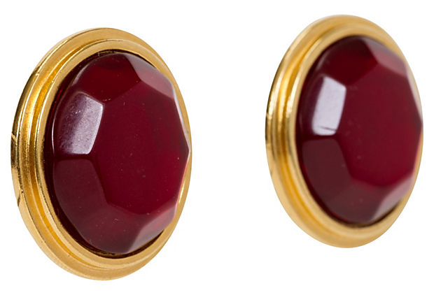 Oversize Gold & Ruby Red YSL Earrings
