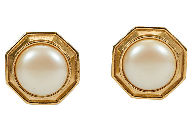 Oversize YSL Faux-Pearl Earrings