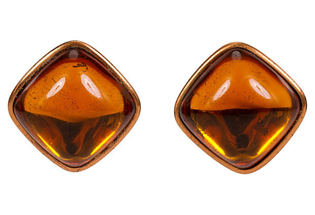 Oversize YSL Amber Copper Earrings