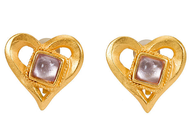Christian Lacroix Stone Heart Earrings