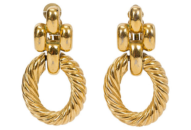 Givenchy Braided Gold Hoop Earrings - Givenchy - Vintage Lux