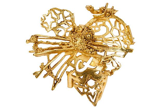 Christian Lacroix Sculptured Heart Pin