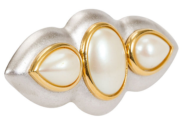 YSL Two-Tone Pearl Bar Pin