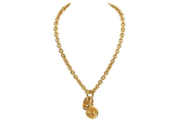 Gold Celine Double Charm Necklace