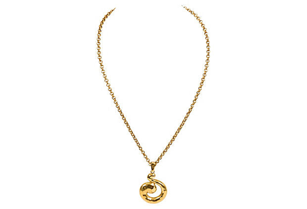 YSL Gold Chain Pendant Necklace
