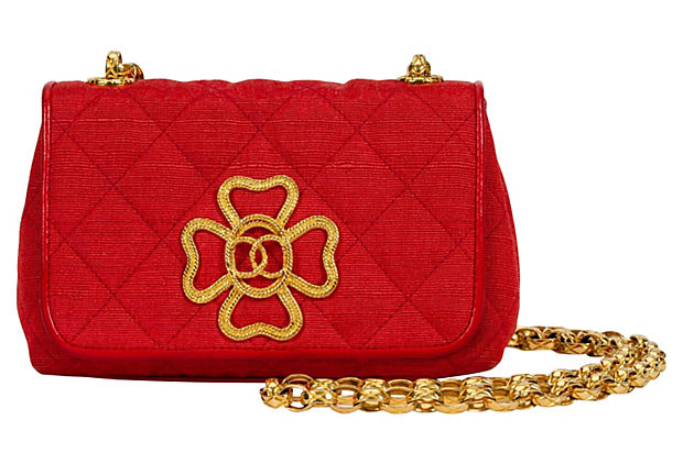 1980s Chanel Red Leather & Cotton Bag - Chanel - Vintage Lux