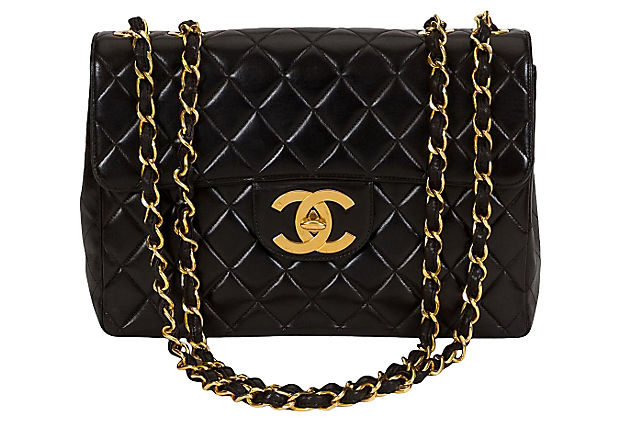 Chanel Black Quilted & Logo Jumbo