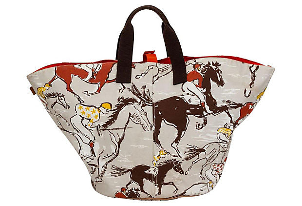 Oversize Hermès Cotton Print Beach Bag
