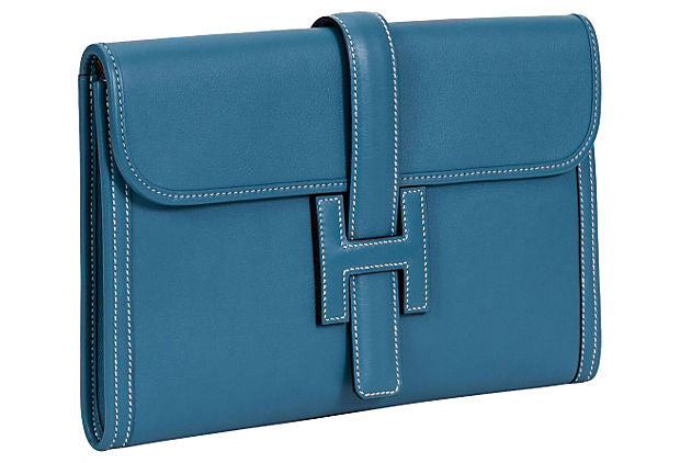 Hermès Blue Jean Swift Jige Clutch