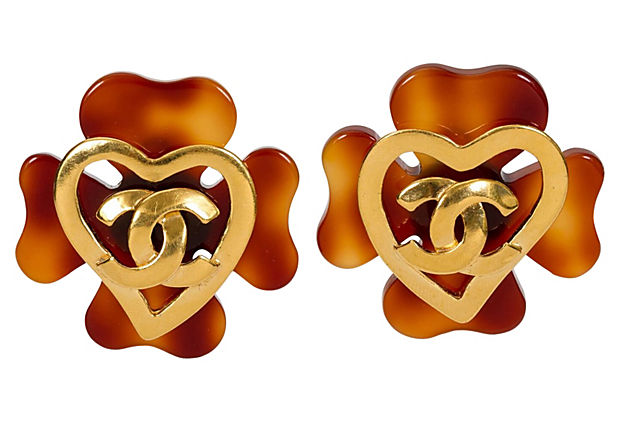 Chanel Faux-Tortoise Logo Earrings 1993