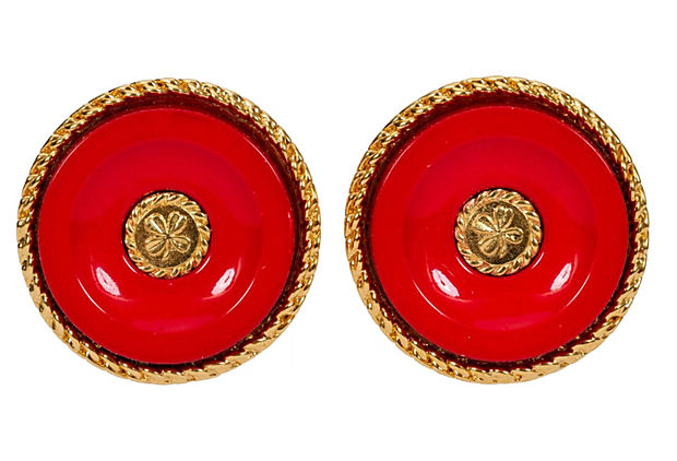 1970s Chanel Red Clover Earrings