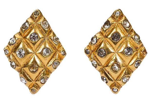 1970s Chanel Diamond Crystal Earrings - Chanel - Vintage Lux