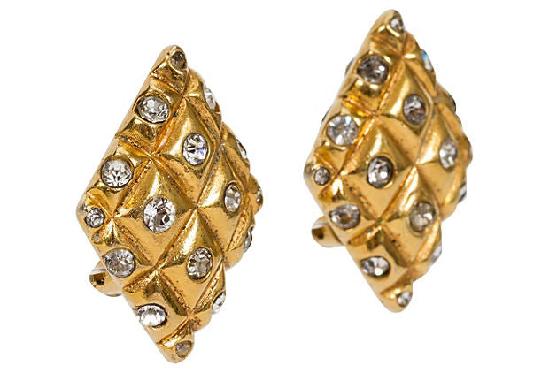 1970s Chanel Diamond Crystal Earrings