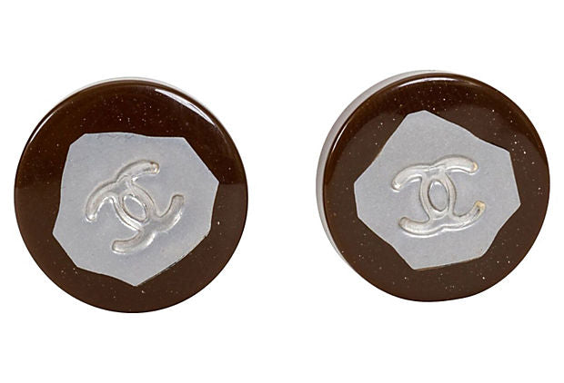 Chanel Brown & Silver Earrings 1999 - Chanel - Vintage Lux