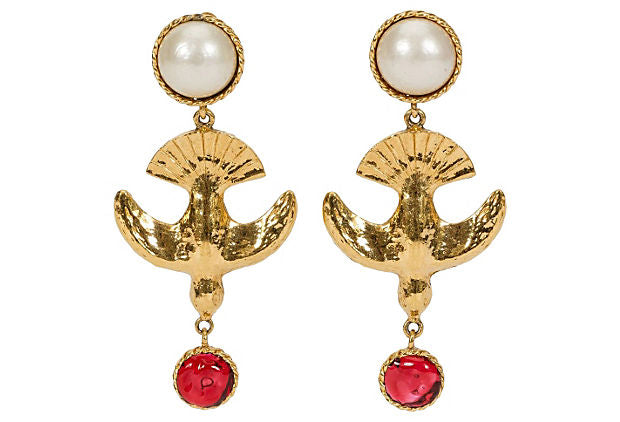 1970s Chanel Rare Gripoix Bird Earrings