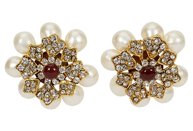 1970s Chanel Gripoix & Pearl  Earrings - Chanel - Vintage Lux