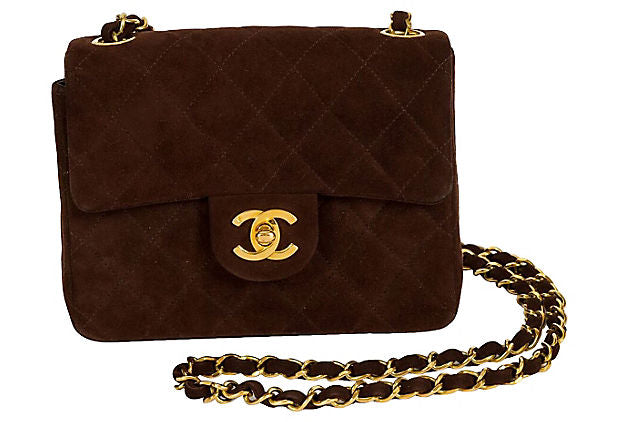 1990s Chanel Brown Suede Mini Flap Bag