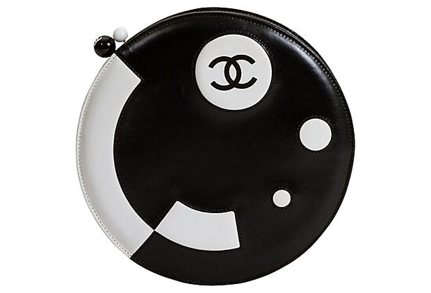 Round Chanel Black & White Bag