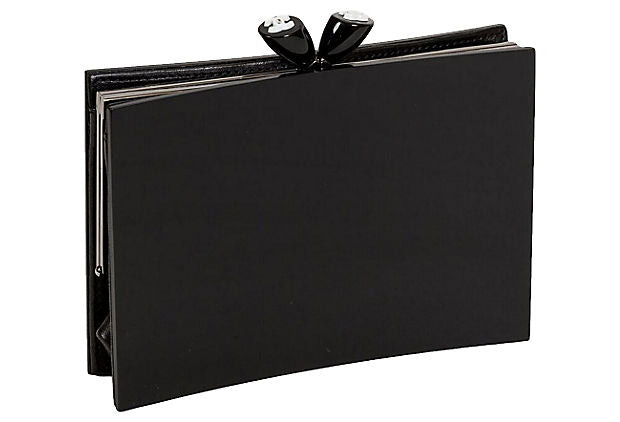 Chanel Black Lucite Kiss Lock Clutch