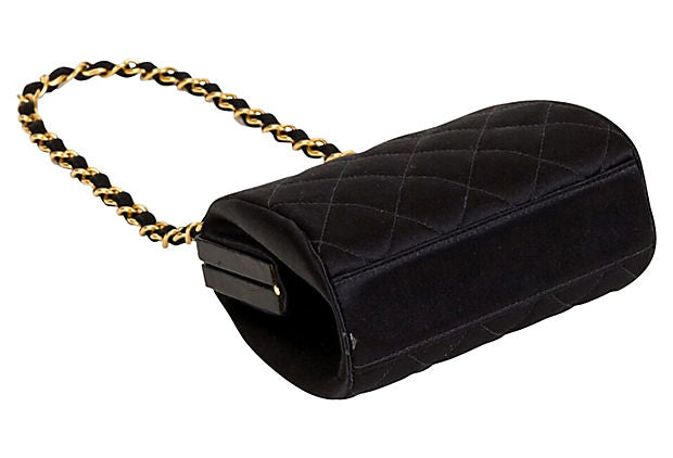 1990s Chanel Black Satin Evening Bag