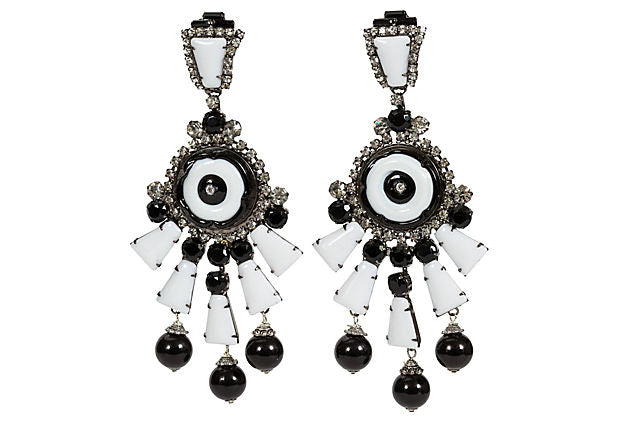 Vrba Black & White Drop Clip Earrings