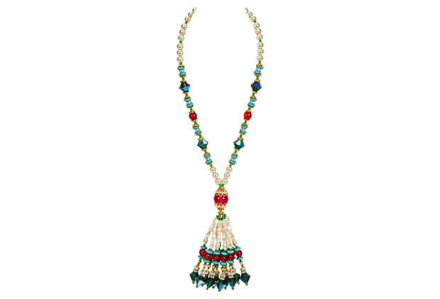 Vrba Fringe Beaded Pearl Necklace