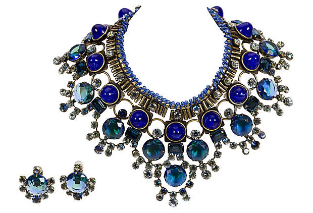 Vrba Lapis Bib Necklace and Earrings