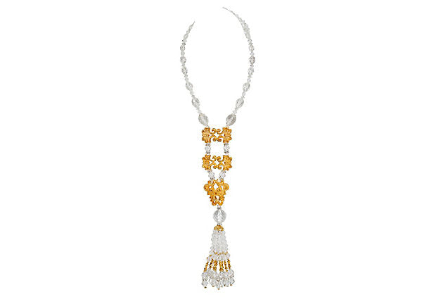 Vrba Golden Lucite Necklace
