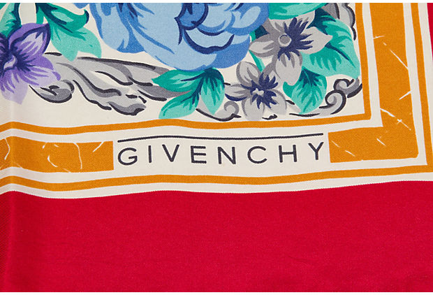 Givenchy Red Floral Silk Scarf