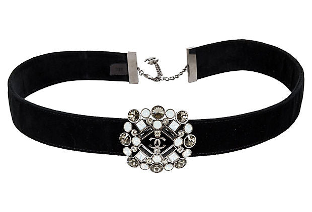 Chanel Black Velvet & Gripoix Belt