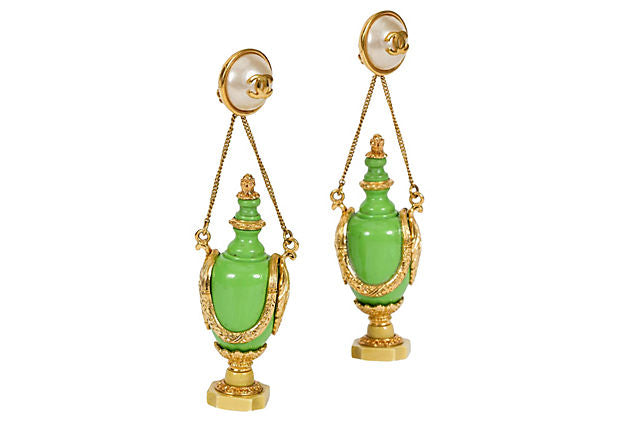 1980s Chanel Rare Green Bottle Earrings