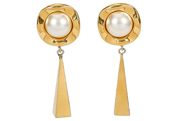 1970s Chanel Pearl Drop  Earrings