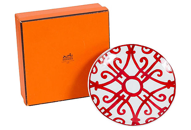 Hermes Red & White Porcelaine Plate