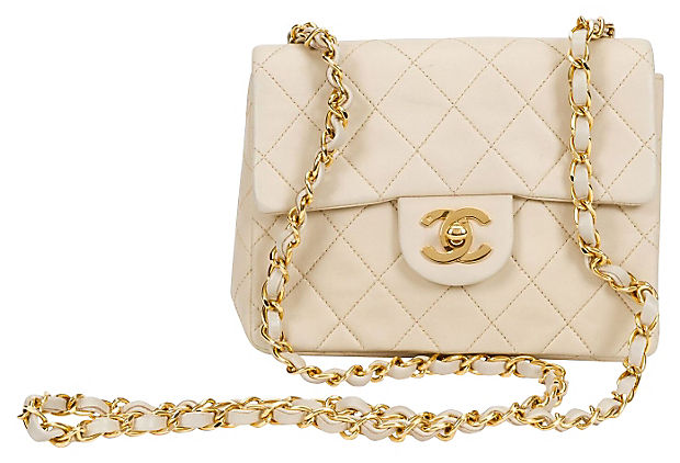 1990s Chanel Beige Mini Flap Bag