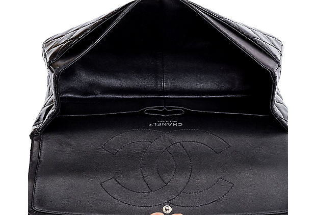 Chanel Black Patent Jumbo Flap Bag