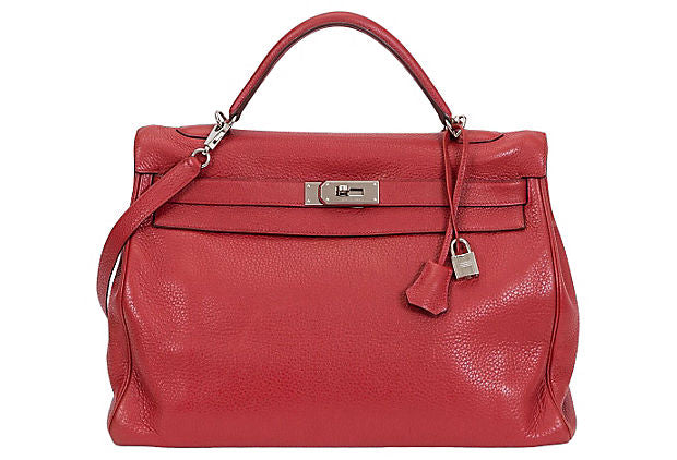 Hermès 40cm Rouge Clemence Kelly Bag
