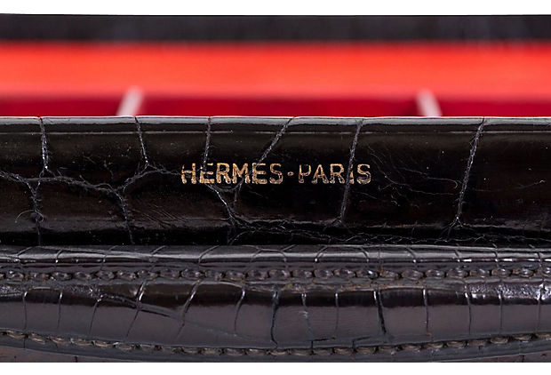 1940s Hermes Men's Croc Toiletry Kit