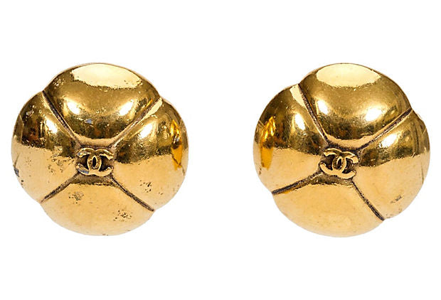 1980s Chanel Dome Clover Logo Earrings - Chanel - Vintage Lux