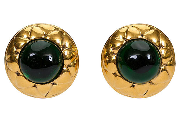 1980s Chanel Gripoix Quilted Earrings - Chanel - Vintage Lux