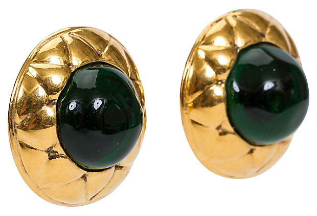 1980s Chanel Gripoix Quilted Earrings