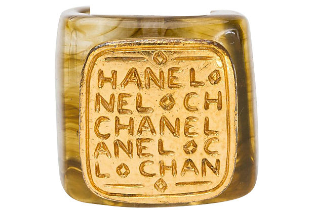 Chanel Lucite & Gold Ring 1999