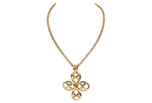 Chanel Clover Logo Necklace 1996