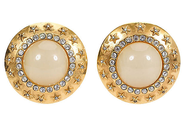 1980s Chanel Oversize Gripoix Earrings
