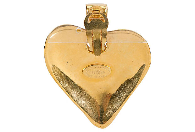Chanel Heart Door Knocker Earrings 1993