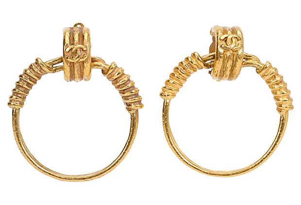 1990s Chanel Satin Gold Hoop Earrings