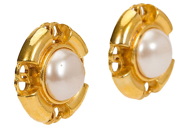 Chanel Pearl Logo Earrings 1993