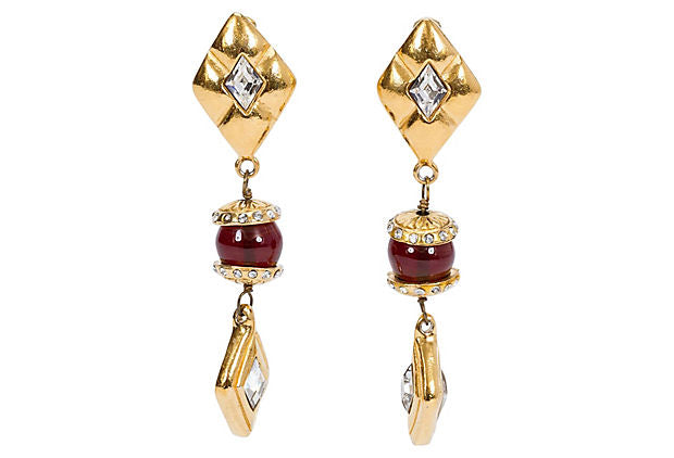 1970s Chanel Long Red Gripoix Earrings