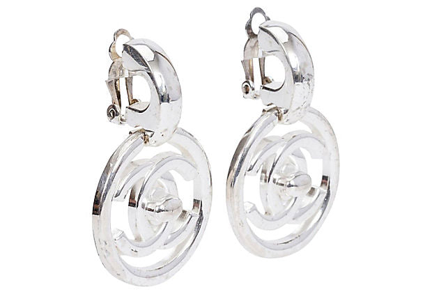 Chanel Silver Turn Lock Earrings 1997