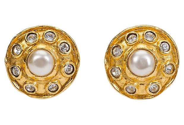 1970s Chanel Pearl & Crystal Earrings